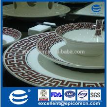 Ensemble de vaisselle en porcelaine super blanc à la conception de couleur dorée 24pcs