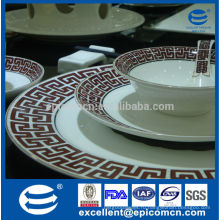 Бытовой дизайн цвет золота супер белый фарфор посуда набор 24pcs