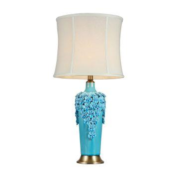 Light Cyan Flower Ceramic Base Table Lamps (MT112078S)