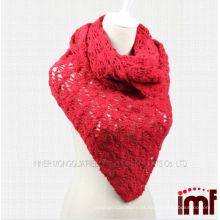 Meninas Red Crochet Mão Triângulo Tricotado Lenço Pura Cashmere Tecido