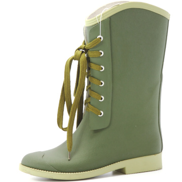 Olive Green Lace Women Rubber Rain Boots