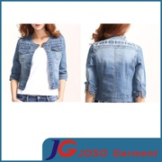 Haft Long Sleeve Classic Shoulder Embroidery Distreesed Denimn Jacket