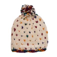 Gorra linda de acrílico de encargo del Jacquard Co del sombrero de la nieve de las muchachas del punto del polka del 100%