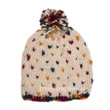 Custom Made 100% Acrílico Bonito Polka DOT Meninas Snow Hat Jacquard Co Beanie