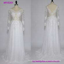 Vestidos de novia de manga larga de encaje sin respaldo de las señoras atractivas