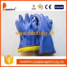 Blue PVC Sandy Finished Gloves with Acrylic Boa Liner Dpv212