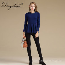 Wholesales New Designs Blue Round Neck Pullover Cashmere Blend Sweater In China