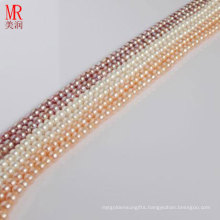 6-7mm White, Pink, Lavender Small Size Nature Pearl Strand, Button Round