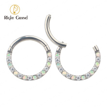 Clicker Bezel Set Cubic Zirconia Color Opal Hinged Body Piercing Surgical Steel Jewelry Nose Rings