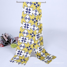 Lady Fashion Printed Satin Silk Magic Mutifunctional Cravat Scarf (YKY1091-10)