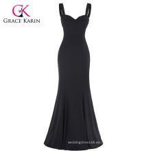 Grace Karin Sexy Negro Occidente Mujeres Padded Backless V-cuello largo vestido sirena CL008943-1