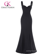 Grace Karin Sexy Black Occident Women's Padded Backless V-Neck Long Mermaid Dress CL008943-1