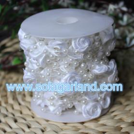 10M/32.8 Feet Pearl Beads Garland Rose Flower String For Wedding Hanging Decor Crafts