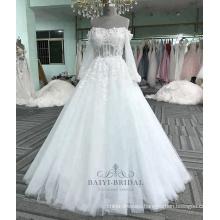 Sexy long sleeve applique flower white dress bride wedding dress 2017 china