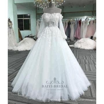 Sexy manches longues applique fleur robe blanche mariée robe de mariée 2017 Chine