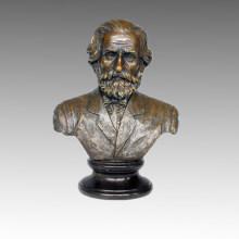 Bustes Bronze Sculpture Musicien Verdi Décoration Statue en laiton TPE-623