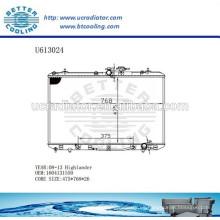 Radiador de aluminio para TOYOTA 08-13 Highlander 1604131550 Fabricante y Venta directa
