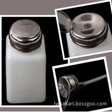 Nail Art Empty Plastic Nail Liquid Dispenser Stainless Steel Cap Pump 6oz