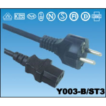 Power Cable With European Plugs Cord