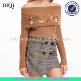 2017 off the shoulder fold over flower embroidered sweater for ladies