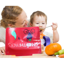 one side clear zip lock bags with logo stand up zipper pouch biodegradable for baby food jelly fruit candy zipper and spout