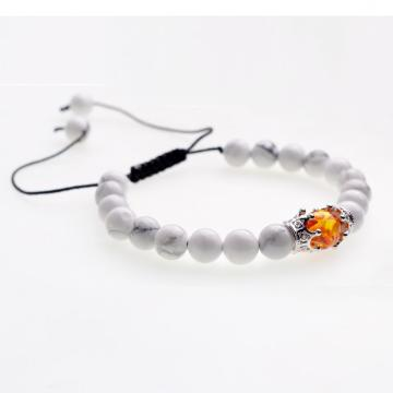 2018 Crown&Syn.Amber Charm Howlite Beads Woven  Bracelet