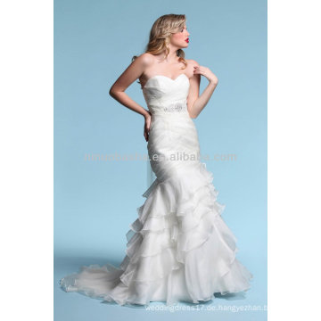 Superb Meerjungfrau Hochzeitskleid 2014 Schatz ärmelloses Rochiges Mieder Rüsche Rock Organza Brautkleid NB017
