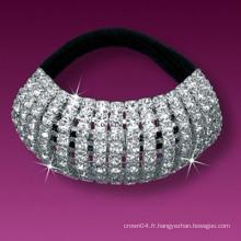 Bandes de cheveux élastiques coulées en cristal plaqué argent