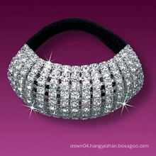 fashion metal silver plated crystal covered elastic hair bands