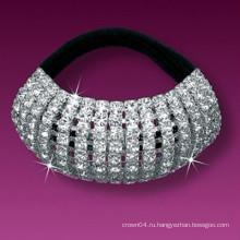 Модные металлические посеребренные покрытые кристаллом эластичные ленты для волос