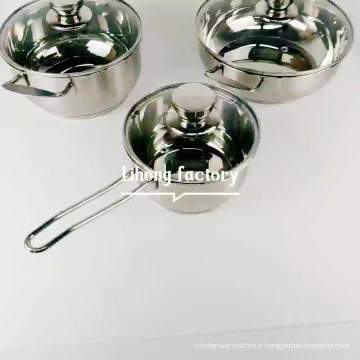 casseroles de cuisine en acier inoxydable