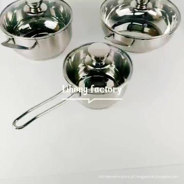 grande potes de aço inoxidável comerciais conjunto de 3pcs cozinha panela