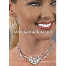 large pave heart rhinestone jewelry set