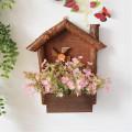 Origin Rustic Style Flowerpot Wooden Wall Hanging