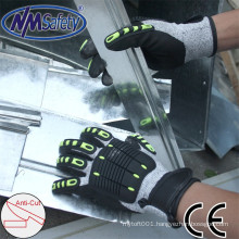 NMSAFETY high quality mechanic impact anti-cut gloves
