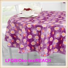 Toalha de mesa impressa impermeável de PVC / PEVA com revestimento protetor da flanela (TJ0280)