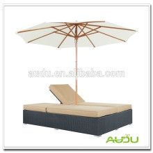 Audu Nice Woven Rattan Sunbed With Canopy