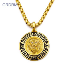 Hip Hop Mens Emas Singa Kepala Pendant Necklace