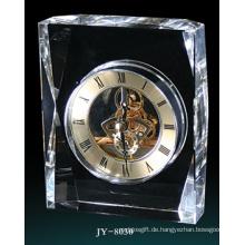 Einfache Kristall Tischuhr Dekoration Glas Uhr