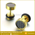 Unisex 316L Surgical Steel Titanium Gold Plated Fake Tunnel