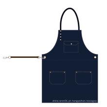 O avental novo de Jean de 2018 KEFEI Design, cruza para trás o avental da sarja de Nimes