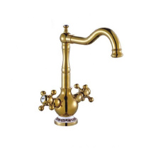 European style antique brushed bronze water taps dual handle basin sink faucet