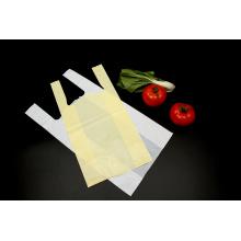 Saco de compras de camiseta de plástico biodegradável