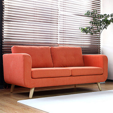 Mid-Century Wooden Legs Fabric Lounge Sofa Set