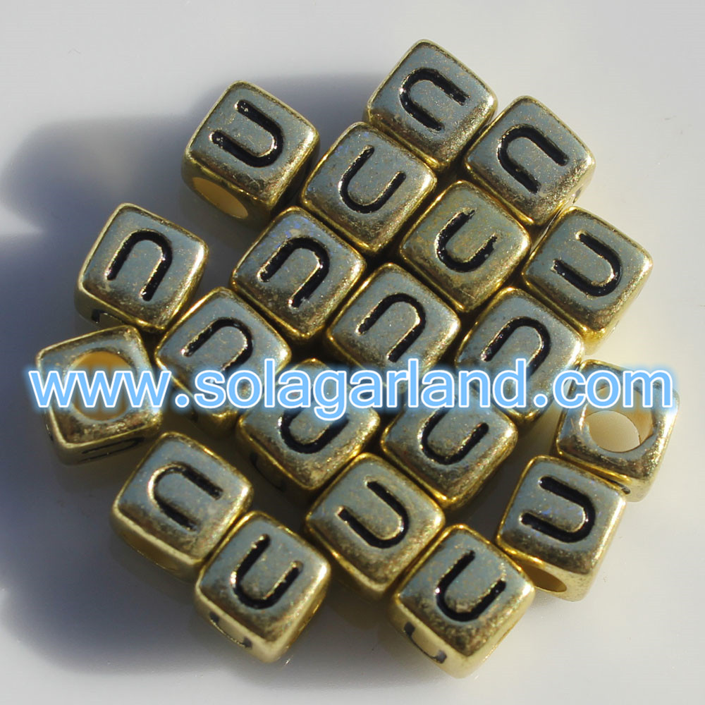 Mixed & Individual Alphabet Cube Beads