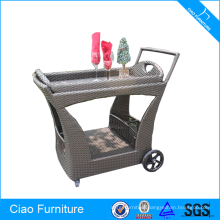 Rattan Furniture Food Dining Car With Fixable Wheels