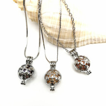 Snow Ball Hollow Pearl Pendant Necklace