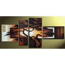 Grupo moderno hermoso paisaje pintura al óleo