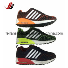 Chaussures de course supérieures tricotées de ligne de vol, chaussures de sport de coussin d'air, nouvelles chaussures de baskets de conception