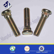 High tensile carbon steel yellow zinc plated wheel hub bolt